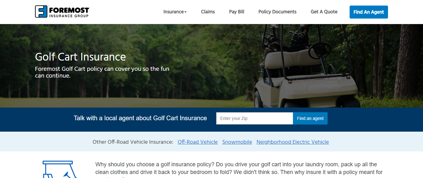 Foremost Golf Cart Insurance