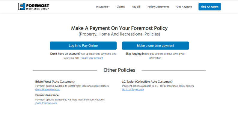foremostpayonline one time payment